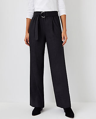 Ann Taylor The Belted Flannel Wide Leg Pant In Charcoal Grey