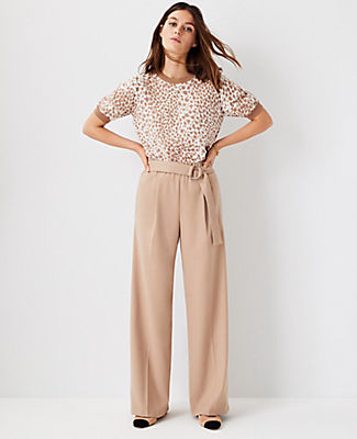 Ann Taylor The Belted Flannel Wide Leg Pant In Spiced Taupe