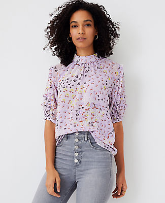 Ann Taylor Floral Ruffle Top In Washed Lavender