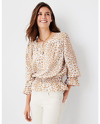Ann Taylor Leopard Print Smocked Waist Top In Spiced Taupe