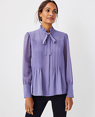 Ann Taylor Pintucked Tie Neck Blouse In Lavender Iris