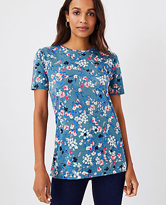 Ann Taylor Floral Pima Cotton Tee In Teal Frost