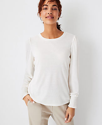 Ann Taylor Smocked Cuff Puff Sleeve Top In Winter White