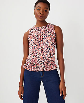 Ann Taylor Floral Gathered Shell Top In Cedar Rose