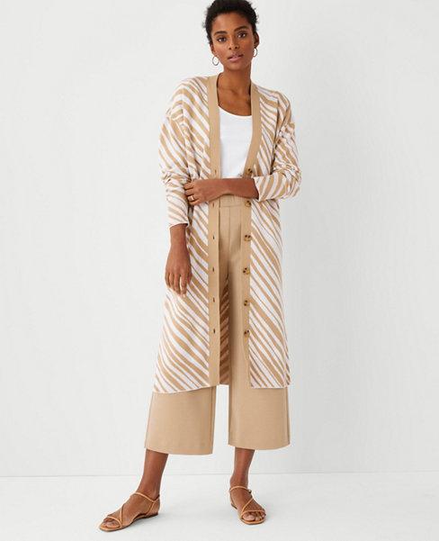 앤테일러 Ann Taylor Zebra Stripe V-Neck Maxi Cardigan,Mid Camel