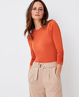 Ann Taylor 3/4 Ruched Sleeve Top