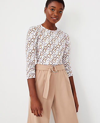 Ann Taylor Geo 3/4 Ruched Sleeve Top In Winter White