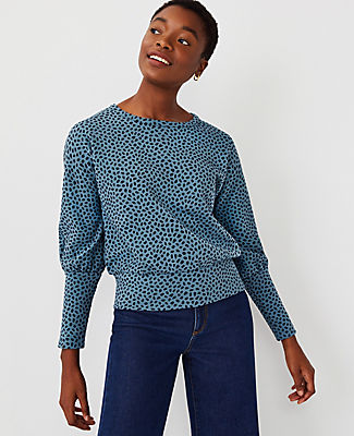 Ann Taylor Animal Print Dolman Top In Teal Frost