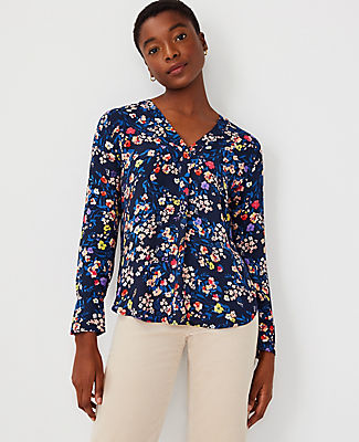 Ann Taylor Floral Mixed Media Pleat Front Top In Night Sky