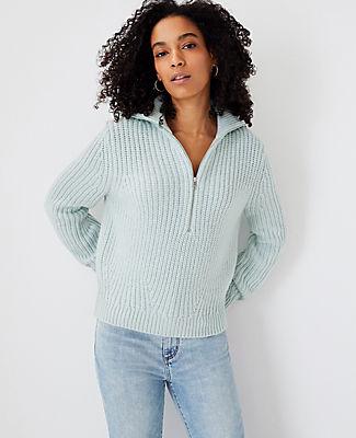 Ann Taylor Zip Collar Sweater In Tidal Mist