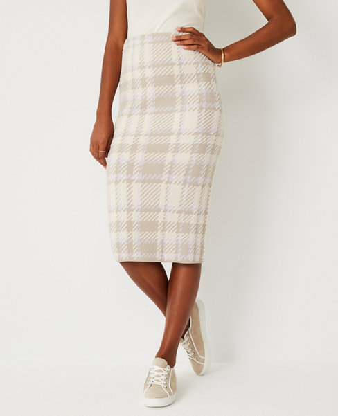 앤테일러 Ann Taylor Plaid Sweater Pencil Skirt,Ivory Multi