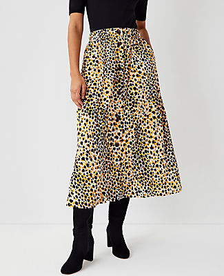 Ann Taylor Leopard Print Button Front Skirt In Golden Sunray