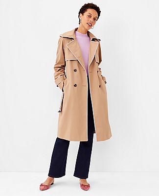 Ann Taylor Tipped Twill Trench Coat In Spiced Taupe
