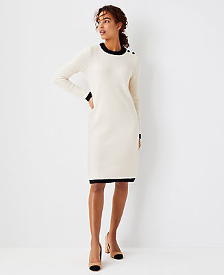 Ann Taylor Tipped Shoulder Button Sweater Dress In Winter White