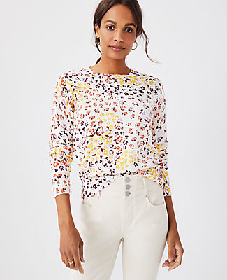 Ann Taylor Floral Sweater In Ivory Multi