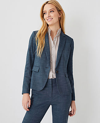 Ann Taylor The One-button Blazer In Crosshatch In Teal Jade