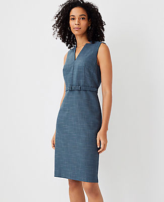 Ann Taylor The Split Neck Belted Dress In Crosshatch In Teal Jade