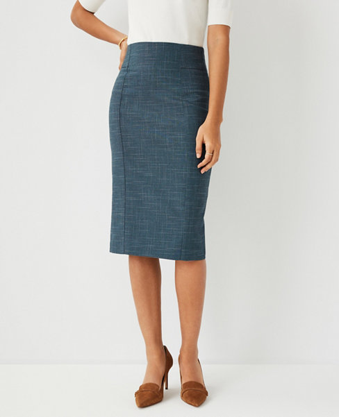 앤테일러 Ann Taylor The High Waist Pencil Skirt in Crosshatch - Curvy Fit,Teal Jade