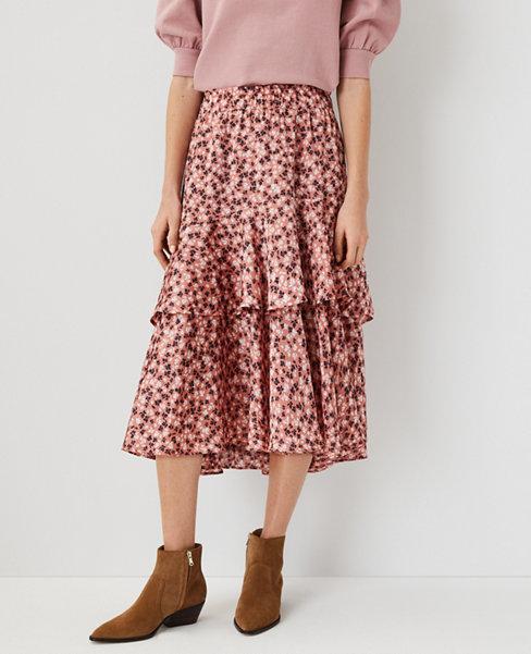앤테일러 Ann Taylor Floral Tiered Midi Skirt,Cedar Rose
