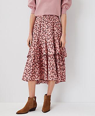 Ann Taylor Floral Tiered Midi Skirt In Cedar Rose