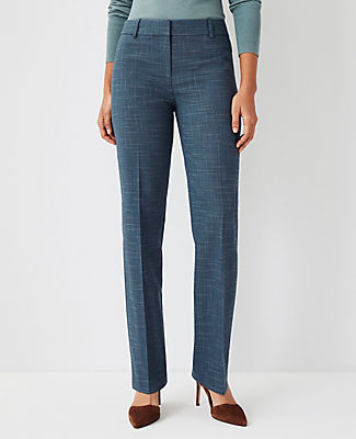 Ann Taylor The High Rise Trouser Pant In Crosshatch In Teal Jade