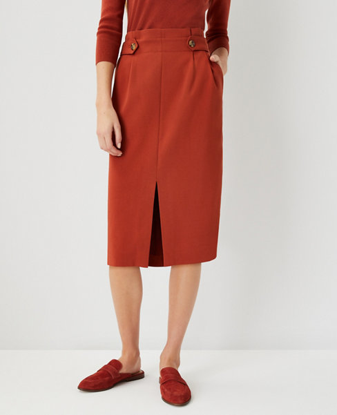 앤테일러 Ann Taylor Button Tab Front Slit Pencil Skirt - Curvy Fit,Moroccan Spice