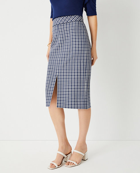 앤테일러 Ann Taylor Gingham Piped Front Slit Pencil Skirt,Ballpoint Blue