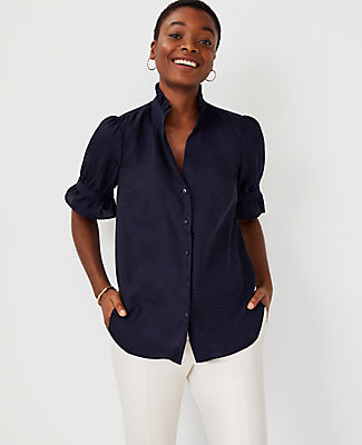 Ann Taylor Ruffle Neck Top In Night Sky