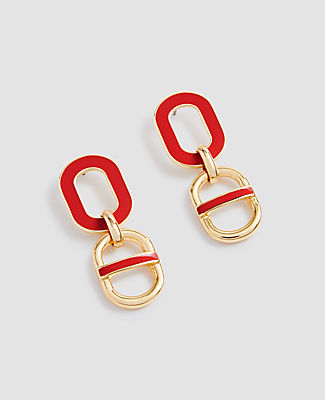 Ann Taylor Enamel Link Drop Earrings In Gold