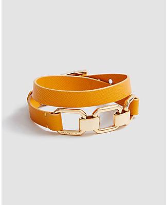 Ann Taylor Leather Chain Wrap Bracelet In Orange