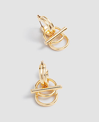 Ann Taylor Circle Bar Huggie Earrings In Gold
