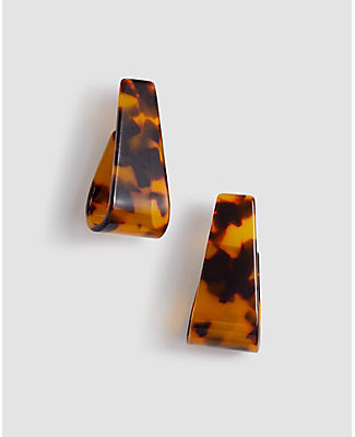 Ann Taylor Tortoiseshell Print Loop Drop Earrings In Brown