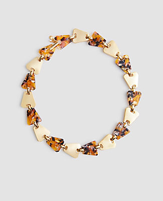 Ann Taylor Triangle Tortoiseshell Print Necklace In Multi