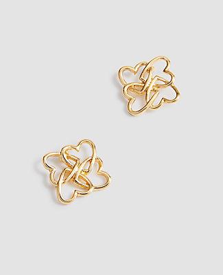 Ann Taylor Heart Stud Earrings In Gold