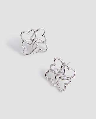 Ann Taylor Heart Stud Earrings In Metallic