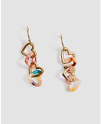 Ann Taylor Tortoiseshell Print Heart Drop Earrings In Multi