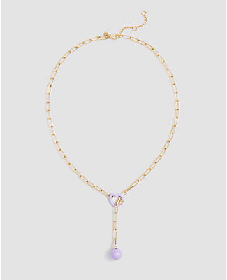 Ann Taylor Heart Lariat Necklace In Gold