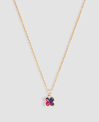 Ann Taylor Two Tone Clover Pendant Necklace In Gold