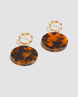 Ann Taylor Roped Tortoiseshell Print Drop Earrings In Multi