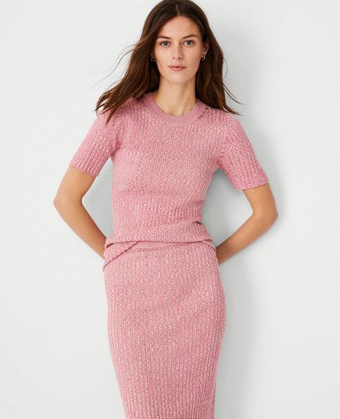 앤테일러 Ann Taylor Marled Ribbed Sweater Tee