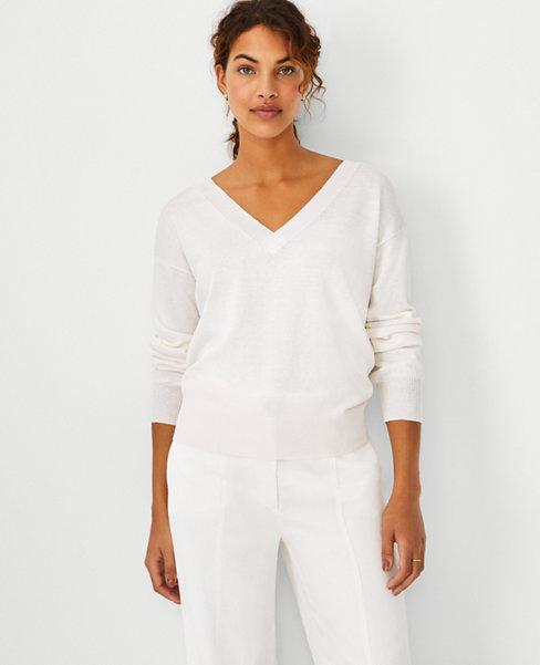 앤테일러 Ann Taylor Linen Blend V-Neck Sweater