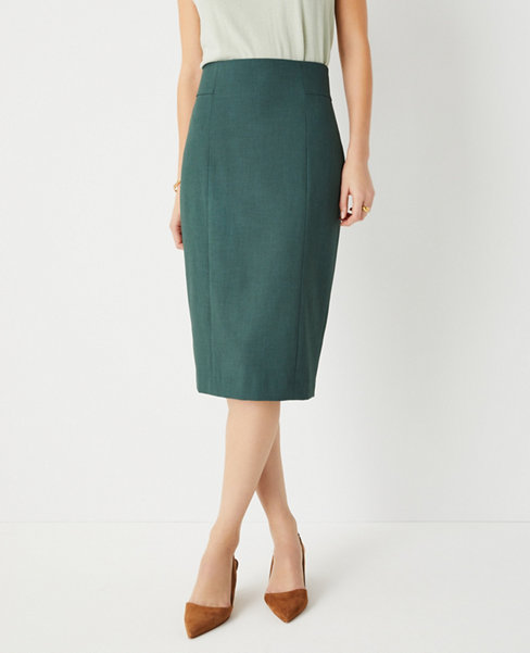 앤테일러 Ann Taylor The High Waist Seamed Pencil Skirt in Bi-Stretch - Curvy Fit,Shadow Leaf
