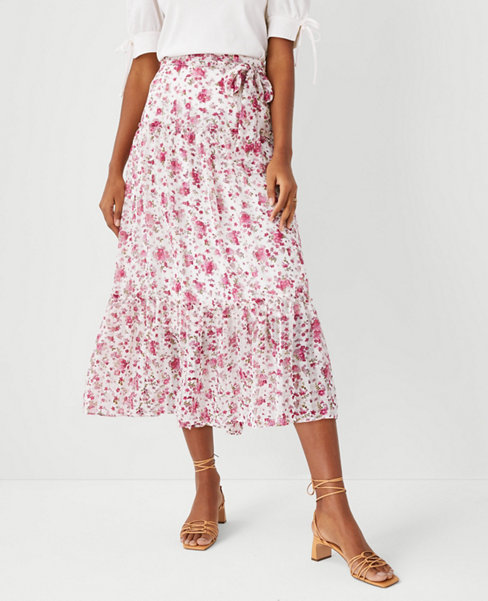앤테일러 Ann Taylor Floral Tie Waist Midi Skirt,Baja Rose