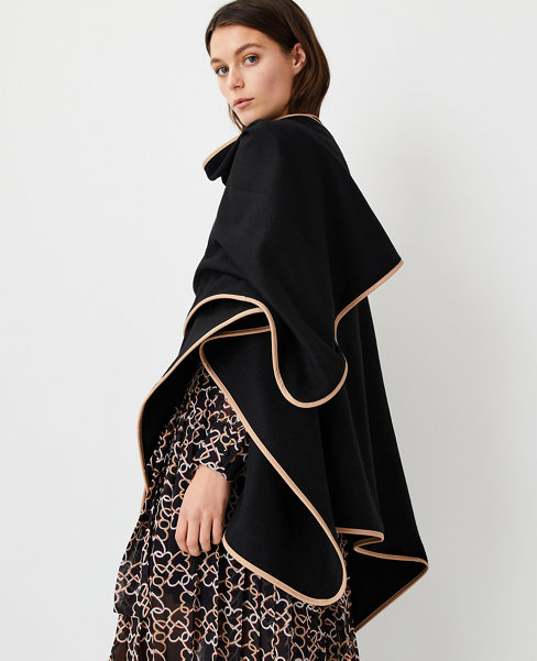 Anntaylor Faux Leather Trim Open Front Poncho