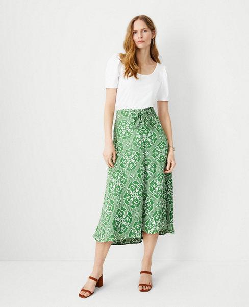 앤테일러 Ann Taylor Tile Print Knotted Midi Skirt,Emerald