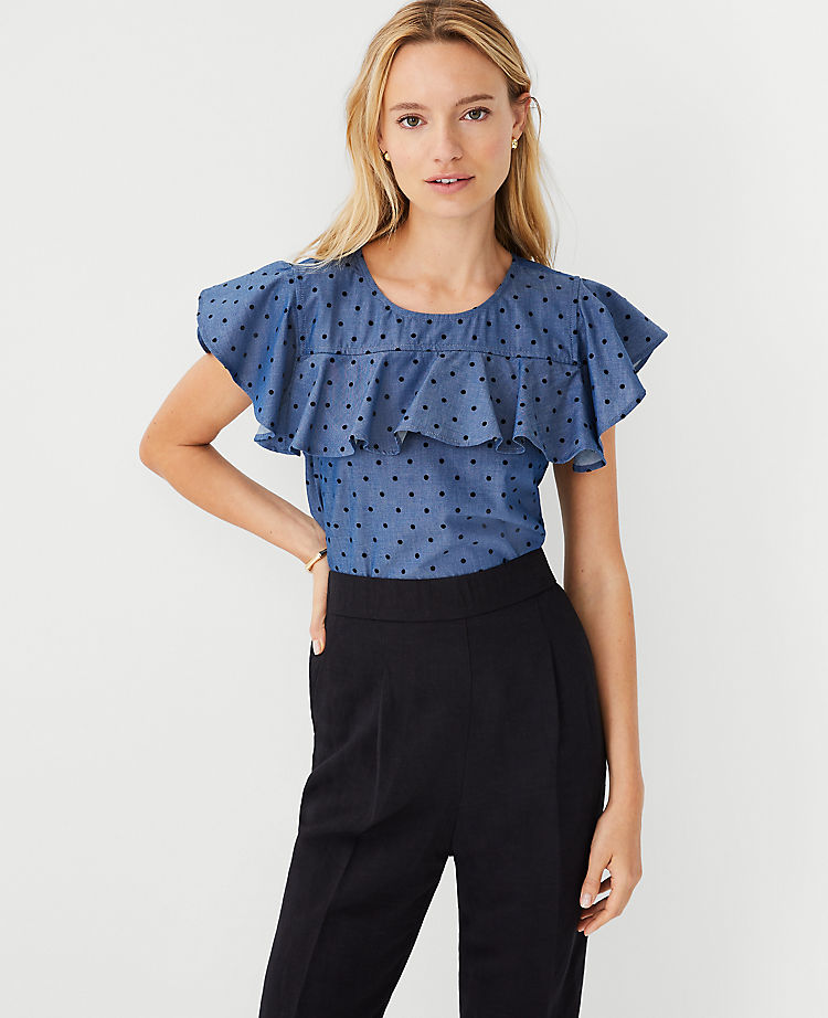 Dotted Chambray Ruffle Top (Was $74.50, Now $35.88)