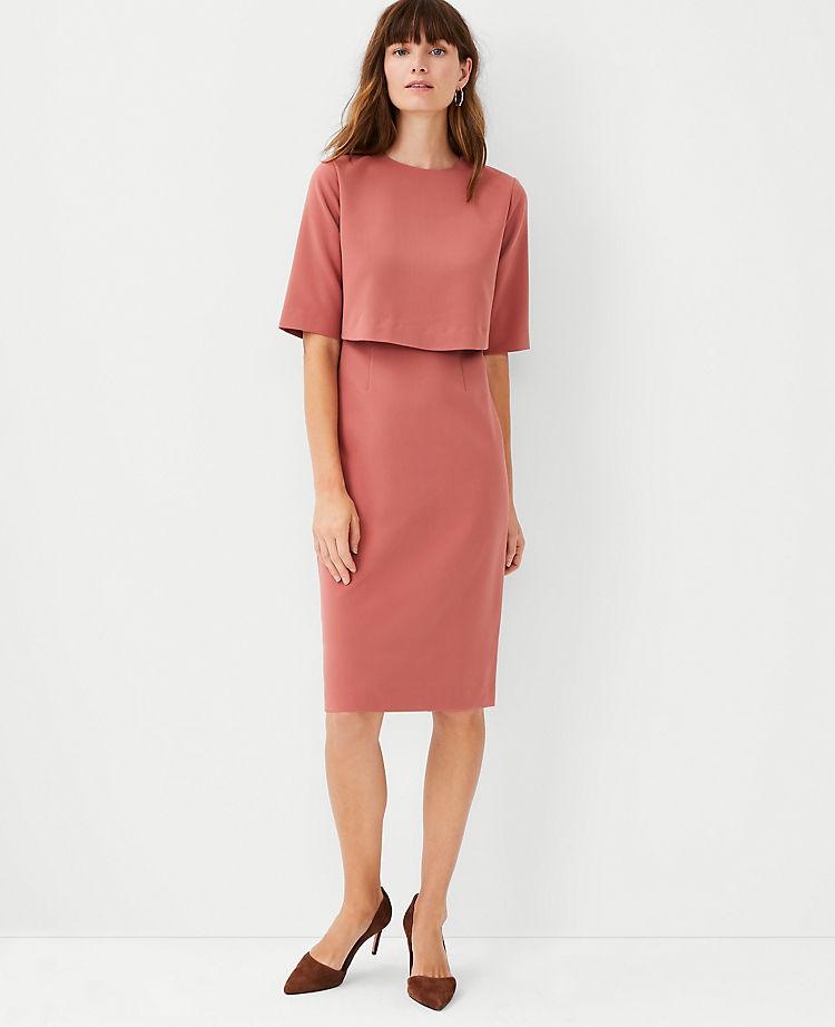 Ann Taylor Overlay Elbow Sleeve Dress