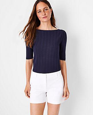Ann Taylor Pointelle 3/4 Sleeve Sweater In Night Sky