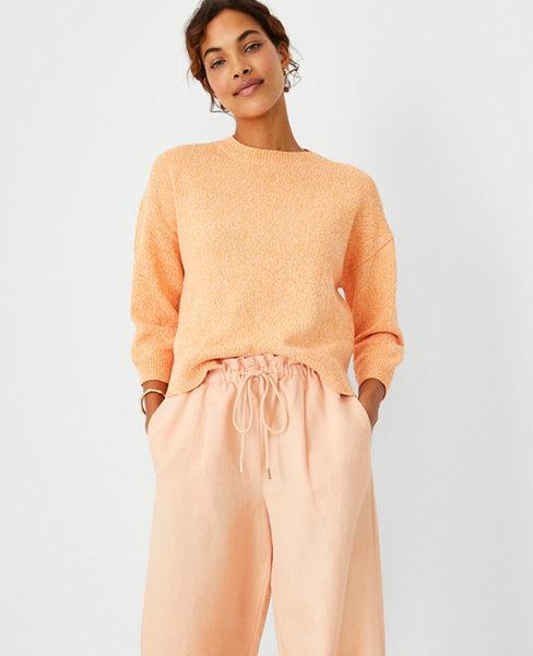 앤테일러 Ann Taylor Marled Elbow Sleeve Sweater,Cantaloupe Fizz