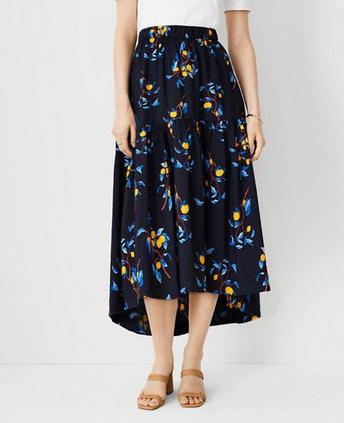 앤테일러 Ann Taylor Lemon Branch Tiered Midi Skirt,Night Sky